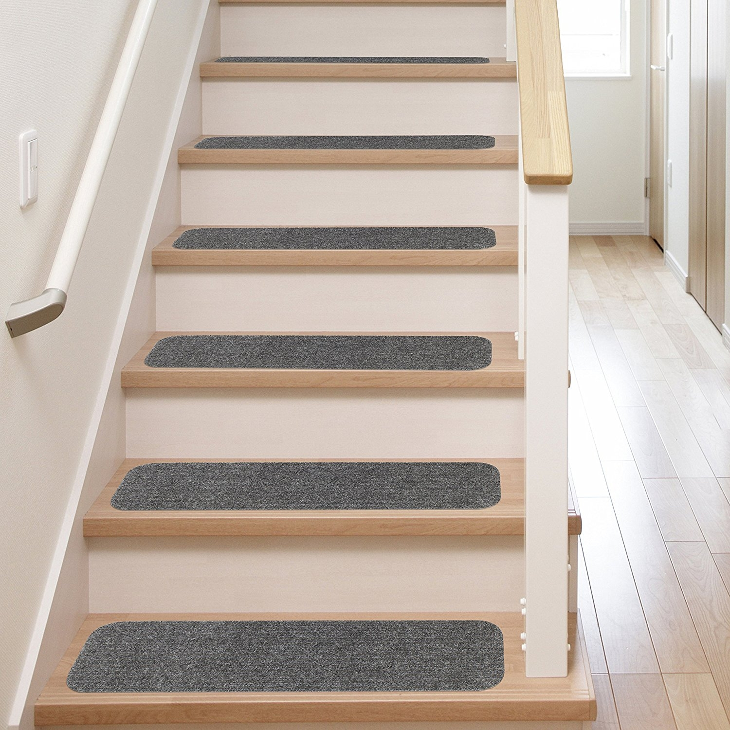 13 Stair Treads Non Slip Carpet Pads Easy Tape Installation Pertaining To Carpet Treads For Wooden Stairs (#1 of 20)