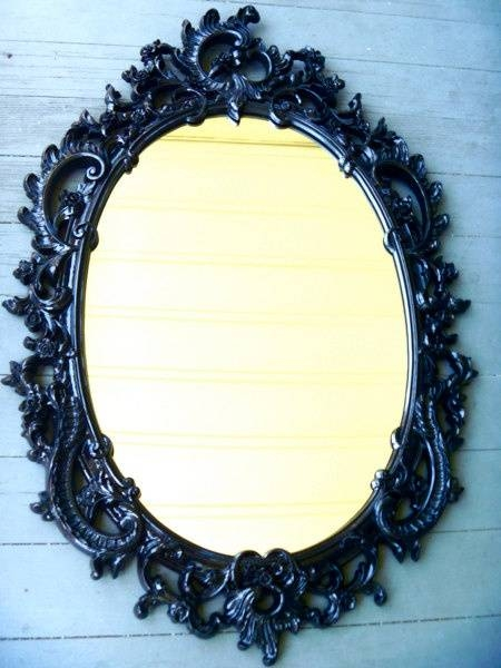 Popular Photo of Black Oval Wall Mirrors