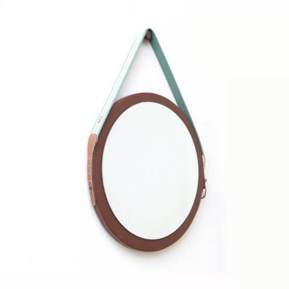"""16"""" Round Mirror. Vintage Lacoste Belt Mirror (#1 of 20)"""