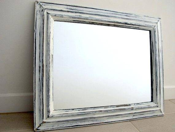 17 X 43 Distressed Blue Barnwood Panel Mirrordistressed And White Pertaining To Shabby Chic White Distressed Mirrors (#4 of 30)