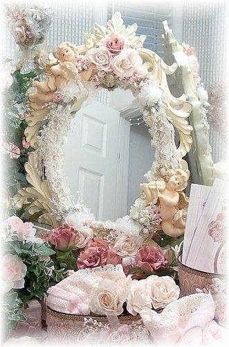 192 Best Shabby Chic ~ Signs & Mirrors & Frames Images On Inside Shabby Chic Gold Mirrors (#3 of 30)