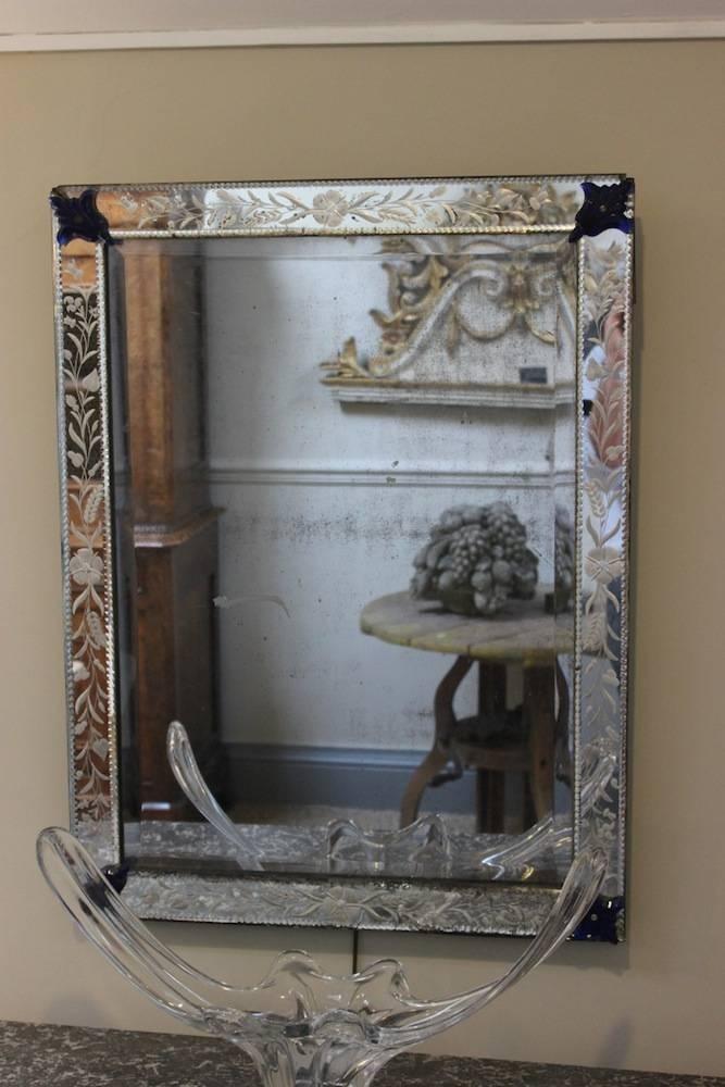 1930S Bevelled Glass Venetian Mirror – Square Mirrors Intended For Venetian Bevelled Mirrors (#2 of 20)
