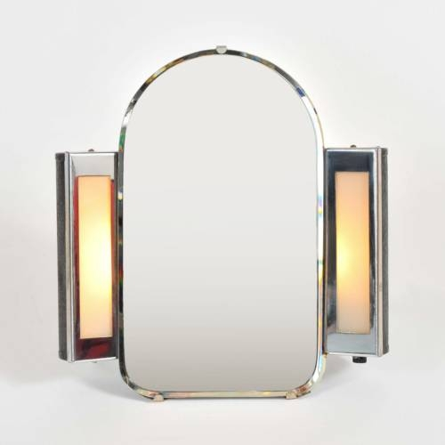 1930S Us Art Deco Illuminated Dressing Table Mirror | Valerie Wade Pertaining To Illuminated Dressing Table Mirrors (#1 of 20)
