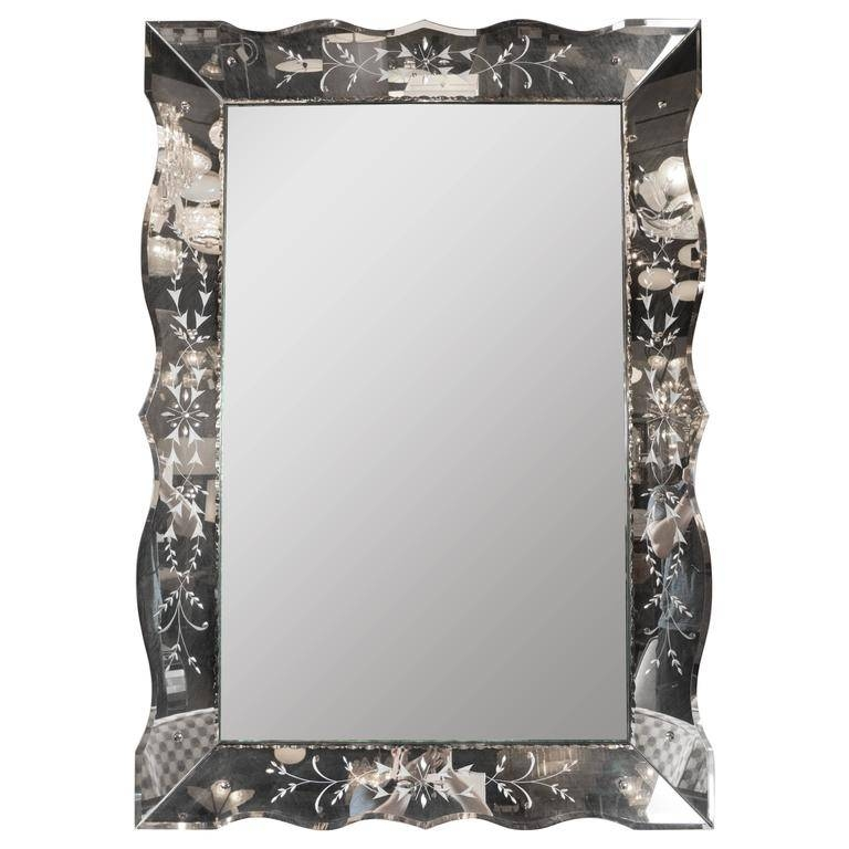 1940S Hollywood Reverse Etched Beveled And Scalloped Venetian Within Venetian Bevelled Mirrors (#4 of 20)