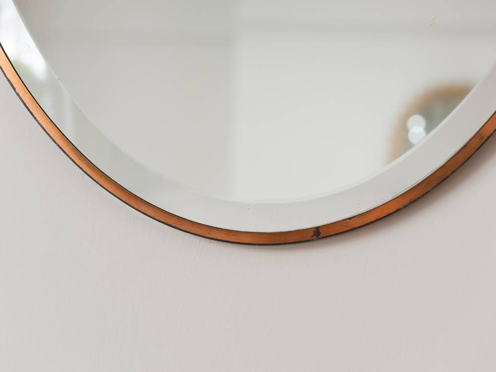 1940S Oval Brass Bevelled Edge Wall Mirror – Retro Living – London In Bevelled Wall Mirrors (#2 of 20)