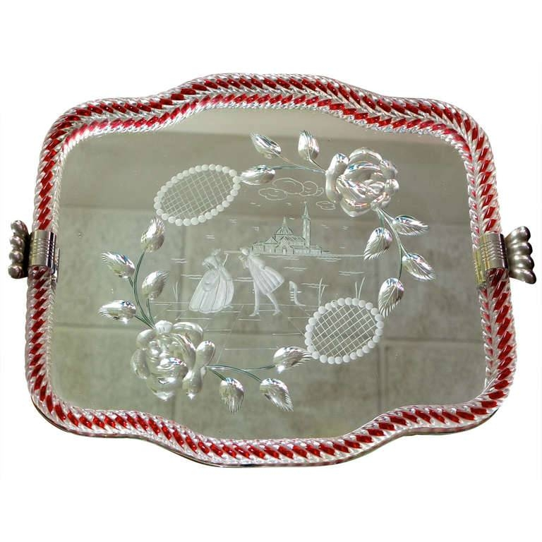 1940's Venetian Glass And Etched Mirror Serving Tray At 1Stdibs Regarding Venetian Tray Mirrors (#6 of 20)
