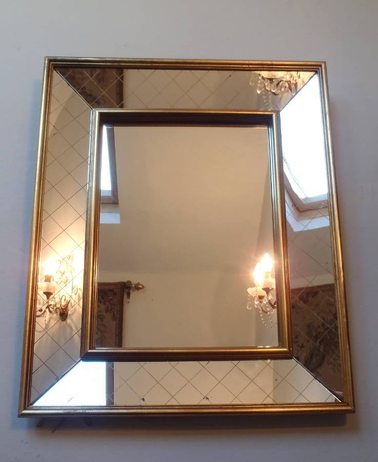 1950S Criss Cross Glass And Gilt Framed Mirror In From On The Wall For Large Gilt Framed Mirrors (#3 of 30)