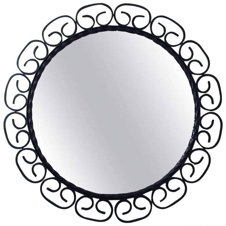 1960S, Mid Century French Wrought Iron Wall Mirror For Sale At 1Stdibs Within Black Wrought Iron Mirrors (#5 of 20)