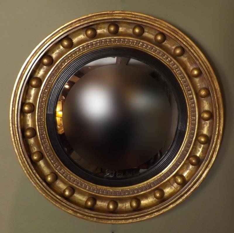 19Th C Gilt Convex Mirror – Mirrors/pictures For Round Gilt Mirrors (#1 of 15)