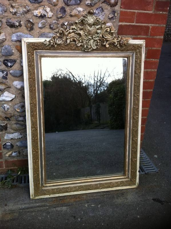 19th Century French Cream And Gilt Gesso And Silver Border Ornate Regarding Antique Cream Wall Mirrors (View 18 of 20)