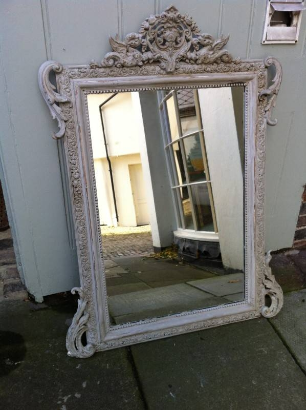 19Th Century French Painted Decorative Ornate Wall Mirror Throughout French Wall Mirrors (View 10 of 20)