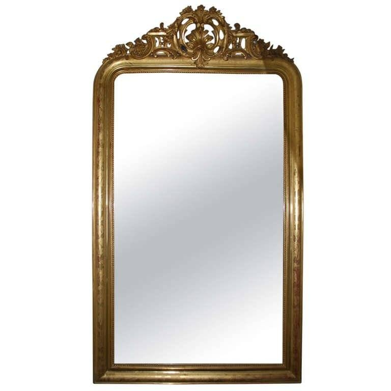 19Th Century Large Gold Gilded Baroque Mirror For Sale At 1Stdibs Within Large Baroque Mirrors (#1 of 20)