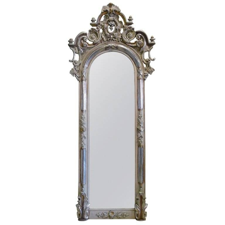 19Th Century Silver Gilded Baroque Mirror For Sale At 1Stdibs Pertaining To Silver Baroque Mirrors (#1 of 30)