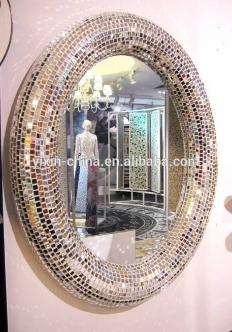 2015 Oval Shape Mosaic Decorative Wall Mirror – Buy Round Mosaic With Regard To Round Mosaic Mirrors (#4 of 30)