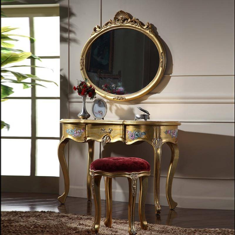 2017 Italian Classic Furniture High End Classic Solid Wood For Gold Dressing Table Mirrors (View 11 of 30)