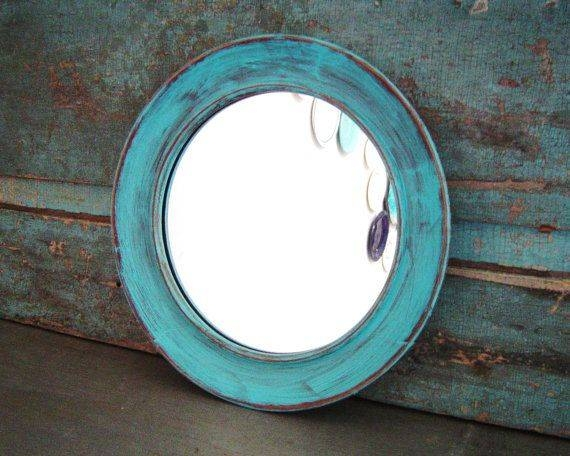 21 Best Mirrors Images On Pinterest | Round Picture Frames, Clock In Blue Distressed Mirrors (#4 of 30)