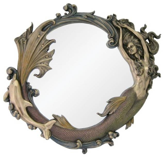 24 Inch Bronze Mirror With Engraved Mermaid Playing With Dolphin Pertaining To Large Bronze Mirrors (#6 of 30)