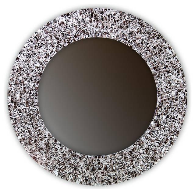 "24"" Mosaic Wall Mirror Glass Mosaic Framed, Round Decorative Wall Inside Round Mosaic Mirrors (#5 of 30)"