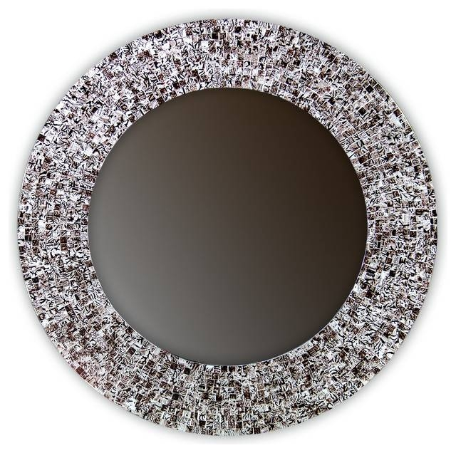 "24"" Mosaic Wall Mirror Glass Mosaic Framed, Round Decorative Wall Pertaining To Mosaic Wall Mirrors (#2 of 20)"