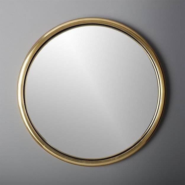 "25"" Porthole Gold Round Wall Mirror | Cb2 Throughout Round Porthole Mirrors (#2 of 30)"
