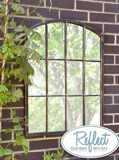2Ft 7In X 2Ft Metal Arched Glass Garden Mirror  Reflect™ £ (#7 of 30)