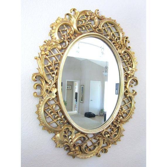 3 Piece Antique Gold Decorative Mirror Setsunburst Mirrors (Set Of Regarding Vintage Gold Mirrors (#8 of 30)