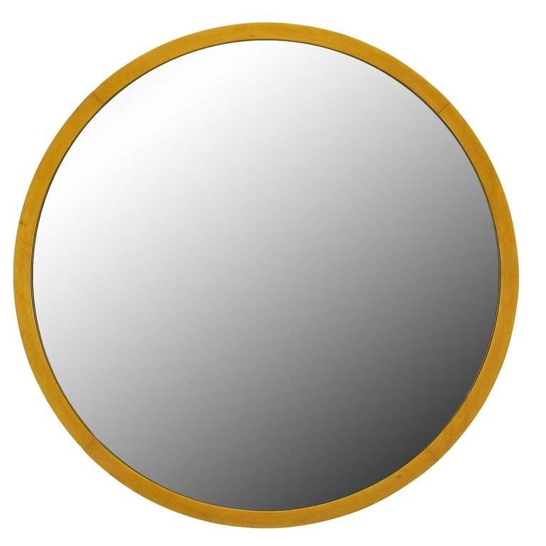 "Inspiration about 31"" Round Art Deco Wall Mirror With Maple Wood Frame At 1Stdibs With Regard To Round Art Deco Mirrors (#20 of 30)"