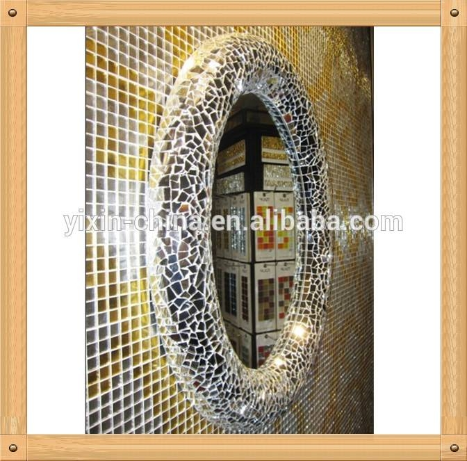 40 80Cm Hand Made Silver Round Shape Modern Design Home Decoration Intended For Round Mosaic Mirrors (#6 of 30)