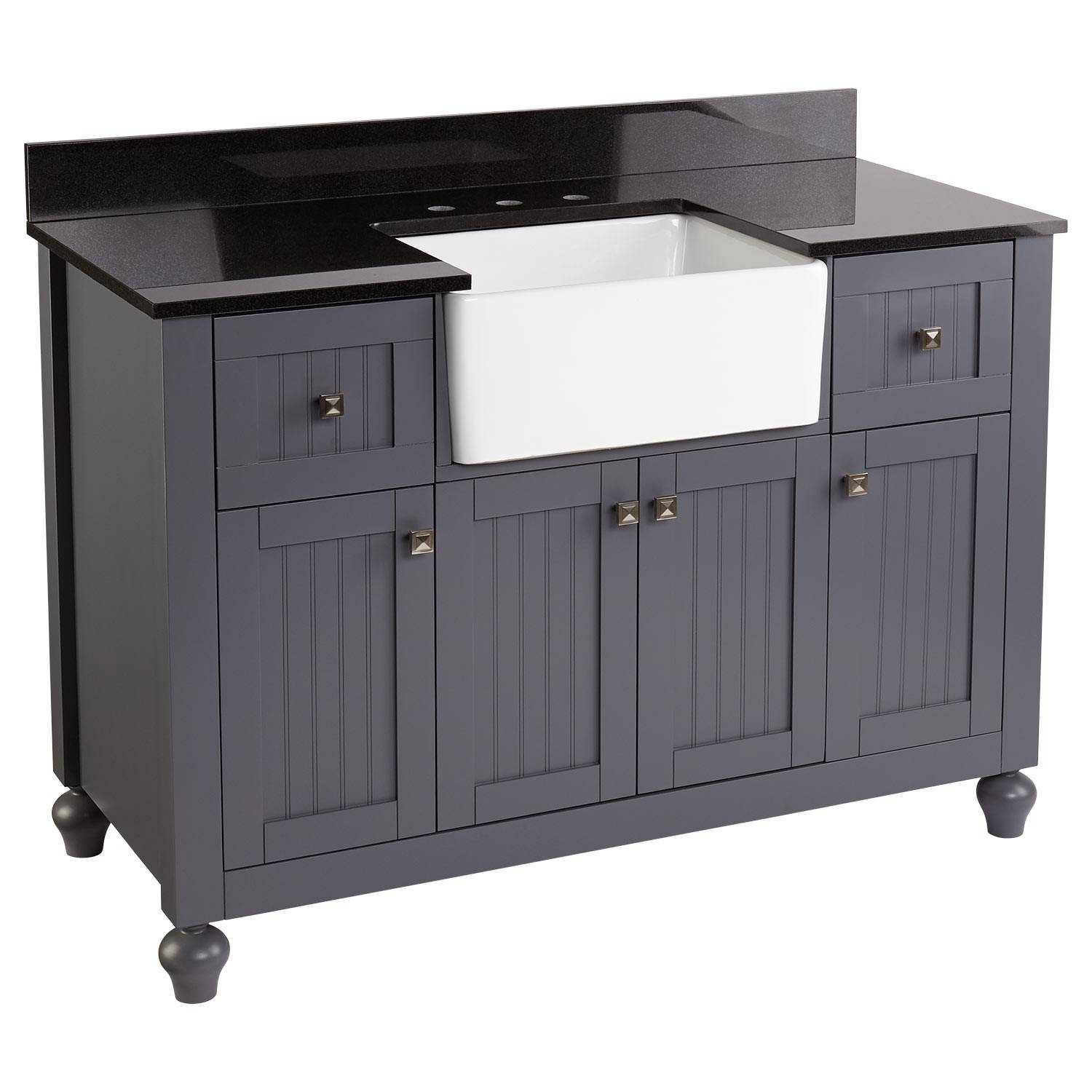 "Inspiration about 48"" Nellie Farmhouse Sink Vanity – Dark Gray – Bathroom With Dark Grey Sideboard (#13 of 20)"