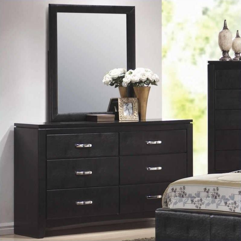 Inspiration about 6 Drawer Dresser With Mirror ~ Bestdressers 2017 Pertaining To Black Faux Leather Mirrors (#19 of 20)