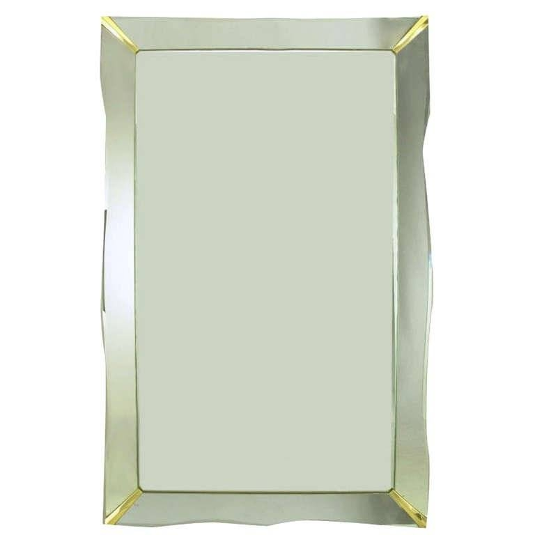 "60"" 1940S Era Art Deco Scalloped Edge Mirror Framed Mirror For Throughout Antique Art Deco Mirrors (#3 of 20)"