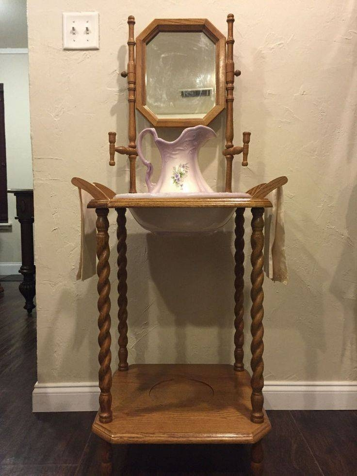 605 Best Do You Love Antique Wash Stands? Images On Pinterest Within Vintage Stand Up Mirrors (#7 of 30)