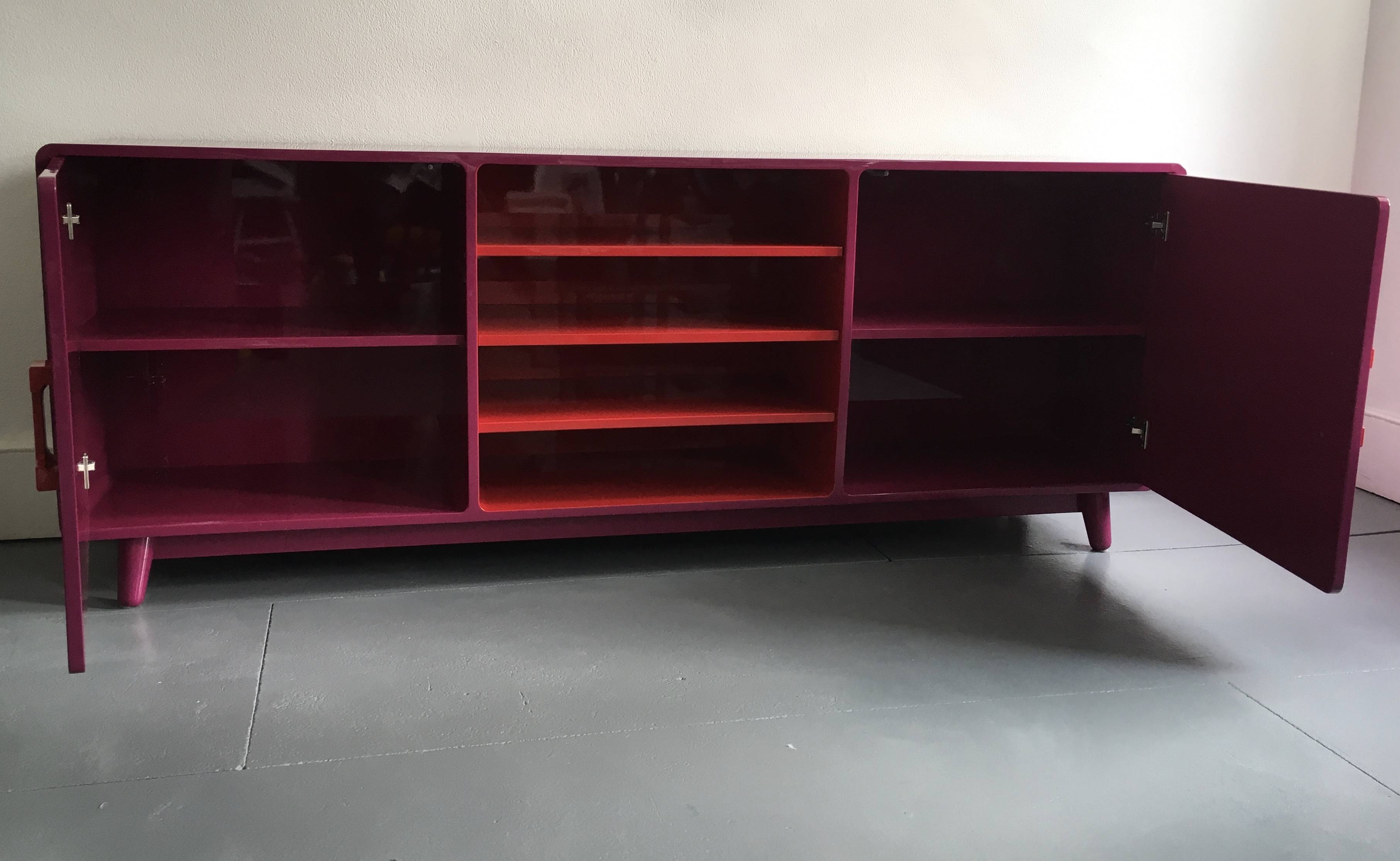 60's Inspired High Gloss Lacquered Sideboard In Hot Pink And Red Intended For Red High Gloss Sideboard (View 14 of 20)