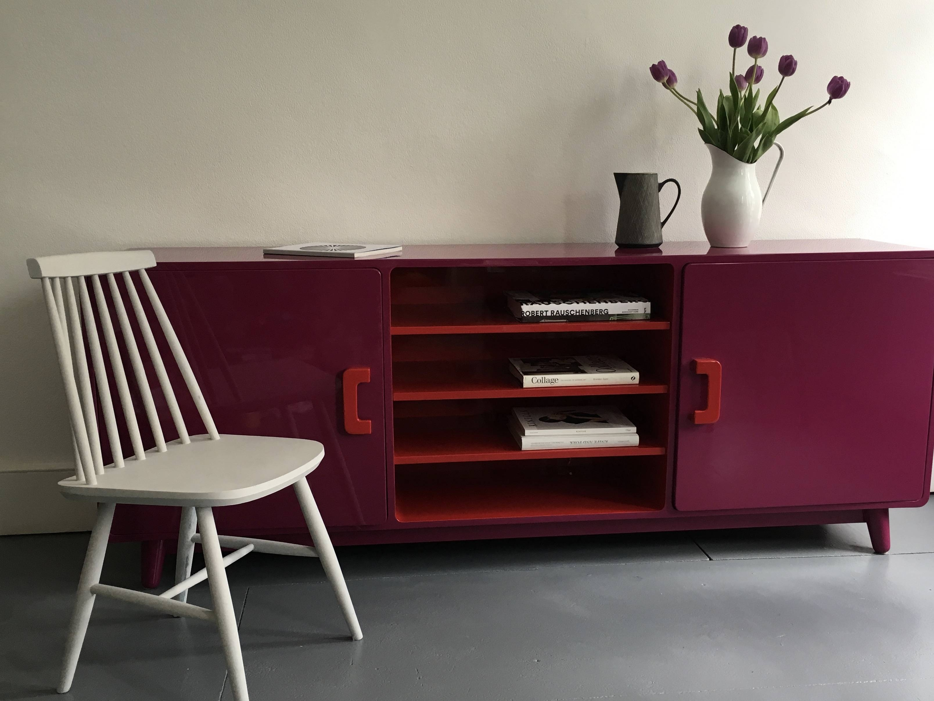 60's Inspired High Gloss Lacquered Sideboard In Hot Pink And Red Intended For Red High Gloss Sideboard (View 8 of 20)