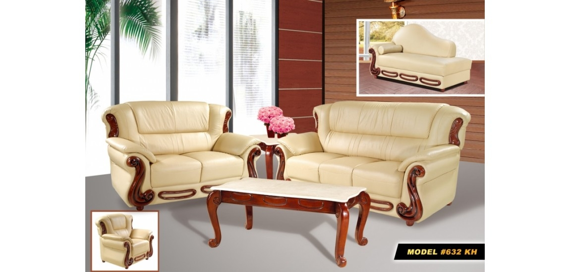 632kh Wood Trim Living Room Set In Off White Pertaining To Off White Leather Sofa And Loveseat (#1 of 15)