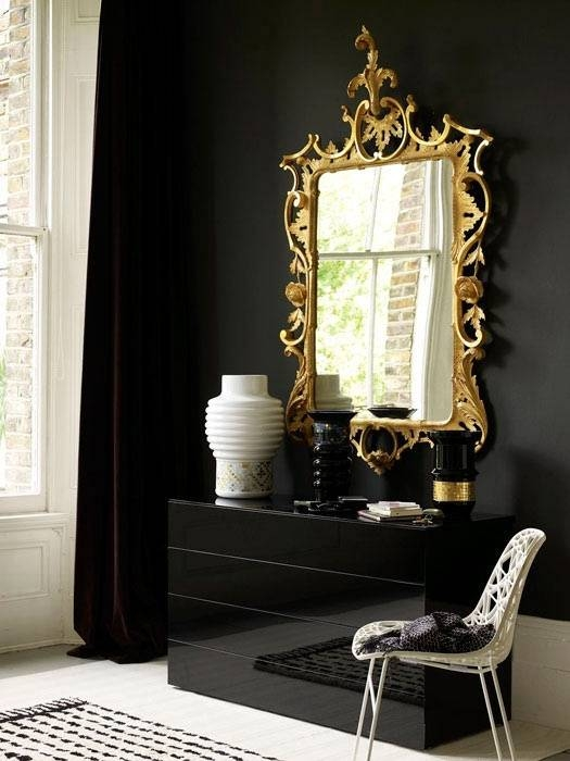 77 Best My Fav Gold Ornate Mirrors Images On Pinterest | Mirror For Long Black Wall Mirrors (#7 of 30)