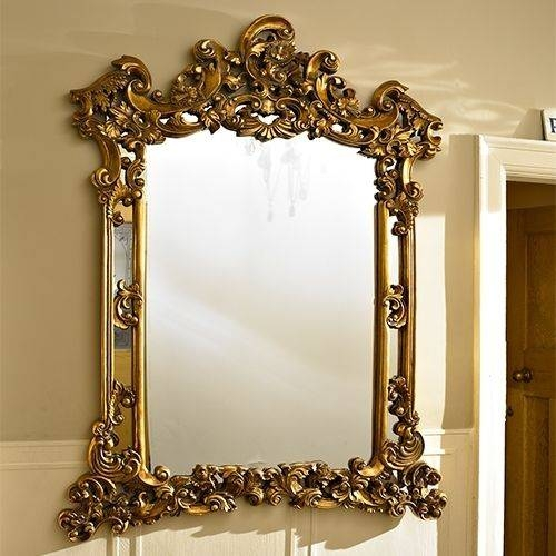 Popular Photo of Large Ornate Gold Mirrors