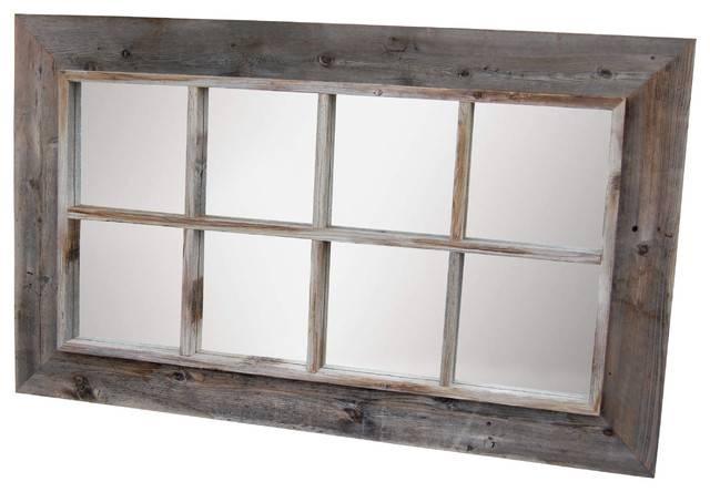 8 Panel Barn Wood Window Pane Mirror – Rustic – Wall Mirrors – In Window Mirrors (#2 of 30)