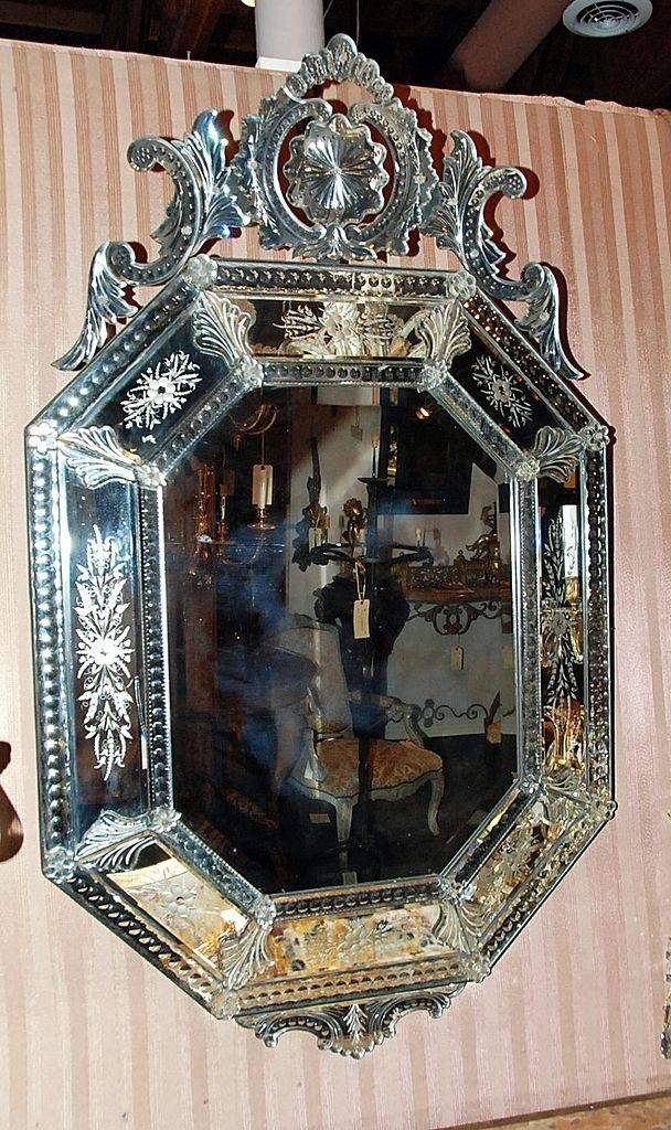 96 Best Vintage Etched Mirrors Images On Venetian Throughout Antique
