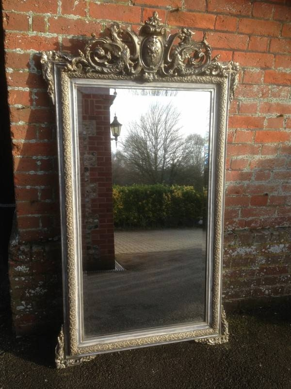 A Highly Decorative Large Antique French Carved Wood & Gesso Intended For Large Antique Mirrors (#4 of 30)
