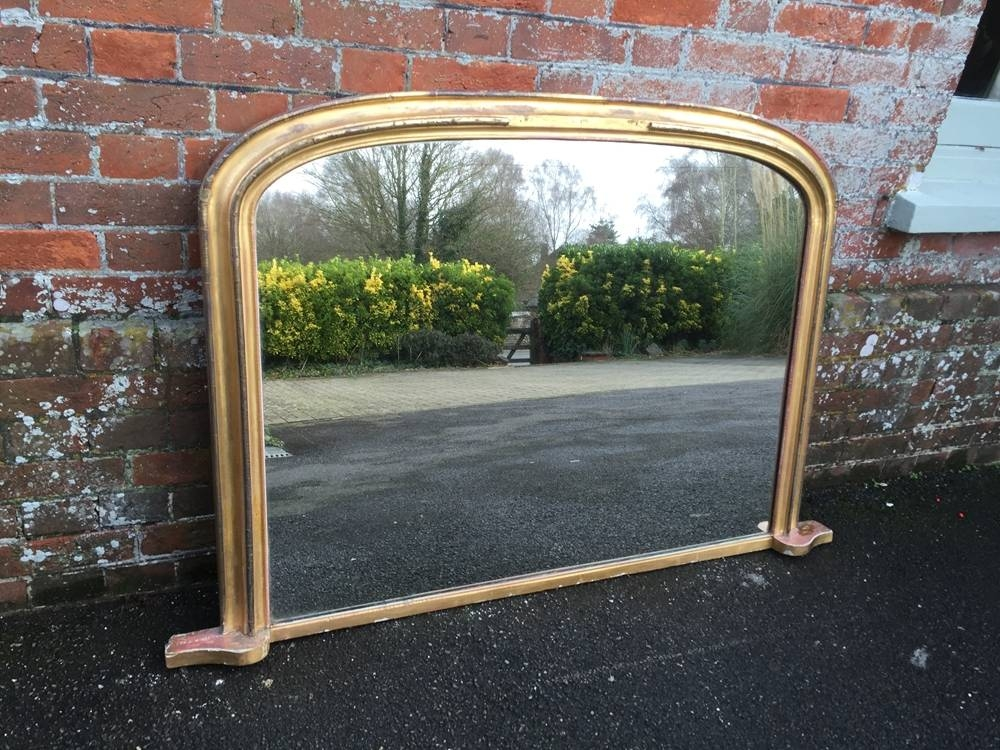 A Highly Useful Antique 19Th Century English Carved Wood And With Antique Overmantle Mirrors (#4 of 20)