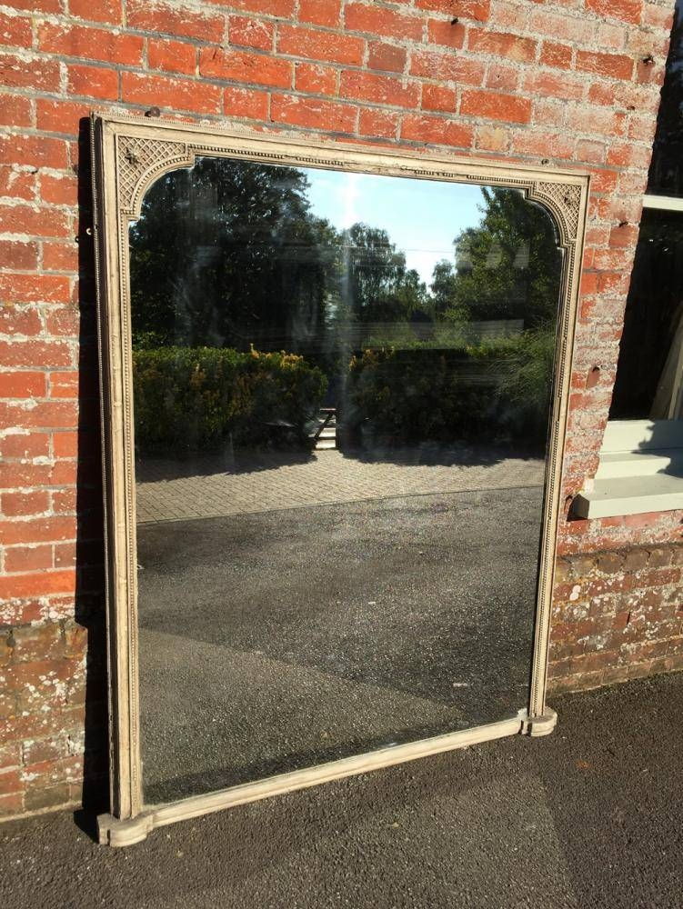 A Large Antique 19Th Century French Carved Wood And Gesso Painted With Regard To Wooden Overmantle Mirrors (#4 of 30)
