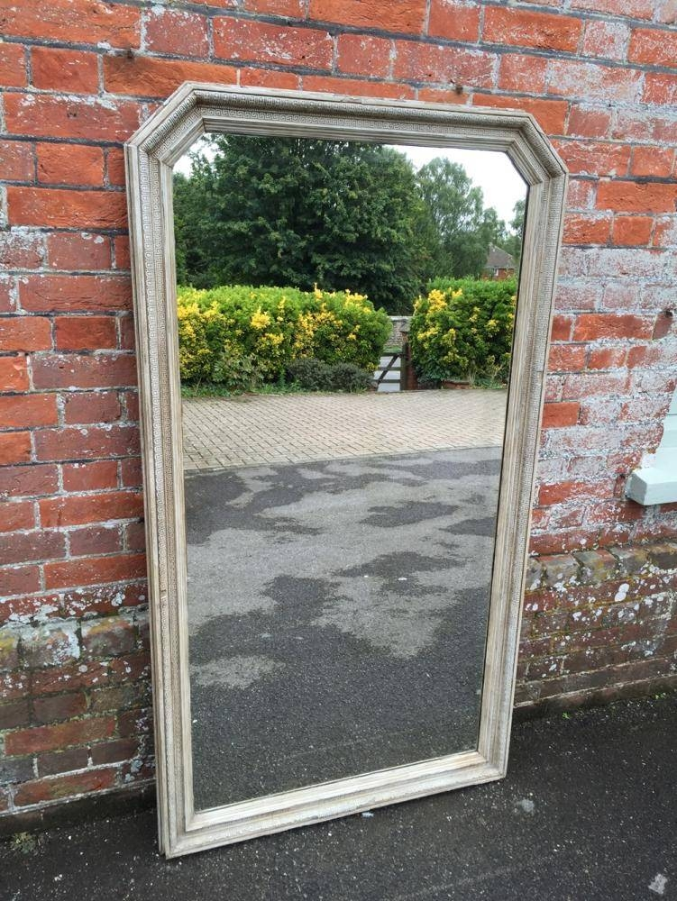 A Large Antique 19Th Century French Carved Wood & Gesso Painted With Regard To French Floor Standing Mirrors (#7 of 20)