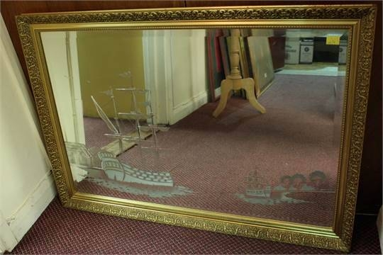 A Large Gilt Framed Wall Mirror, Engraved With A Maritime Scene Of Regarding Large Gilt Framed Mirrors (#13 of 30)
