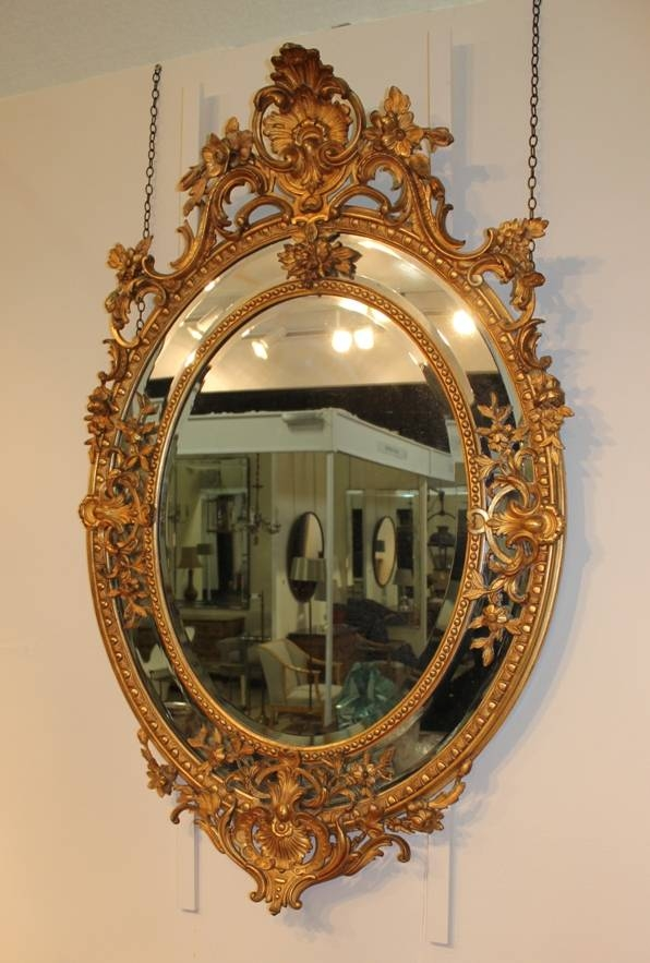 A Large Oval Border Glass Gilt Mirror | French C.  (View 8 of 30)