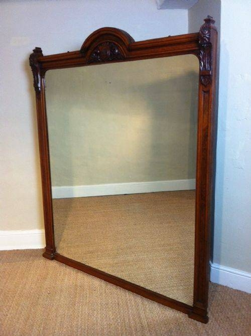 A Large Victorian Burr Oak Overmantle Mirror C 1880 | 200780 With Regard To Wooden Overmantle Mirrors (#5 of 30)