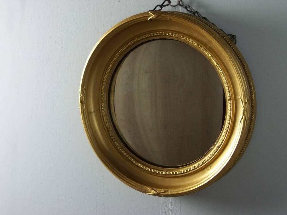A Small Gilt Circular Round Bulls Eye Gilded Convex Regency Design Regarding Round Gilt Mirrors (View 15 of 15)