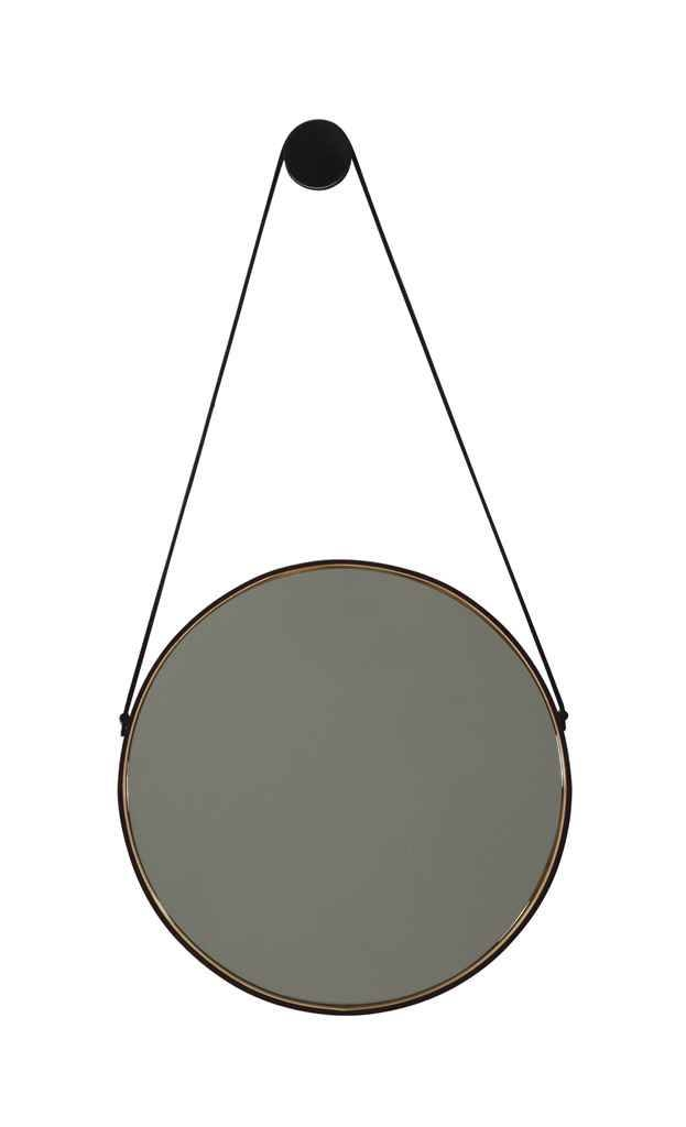 A Small Leather Framed Mirror With Leather Hanging Strap, | 20Th Inside Black Leather Framed Mirrors (#6 of 30)