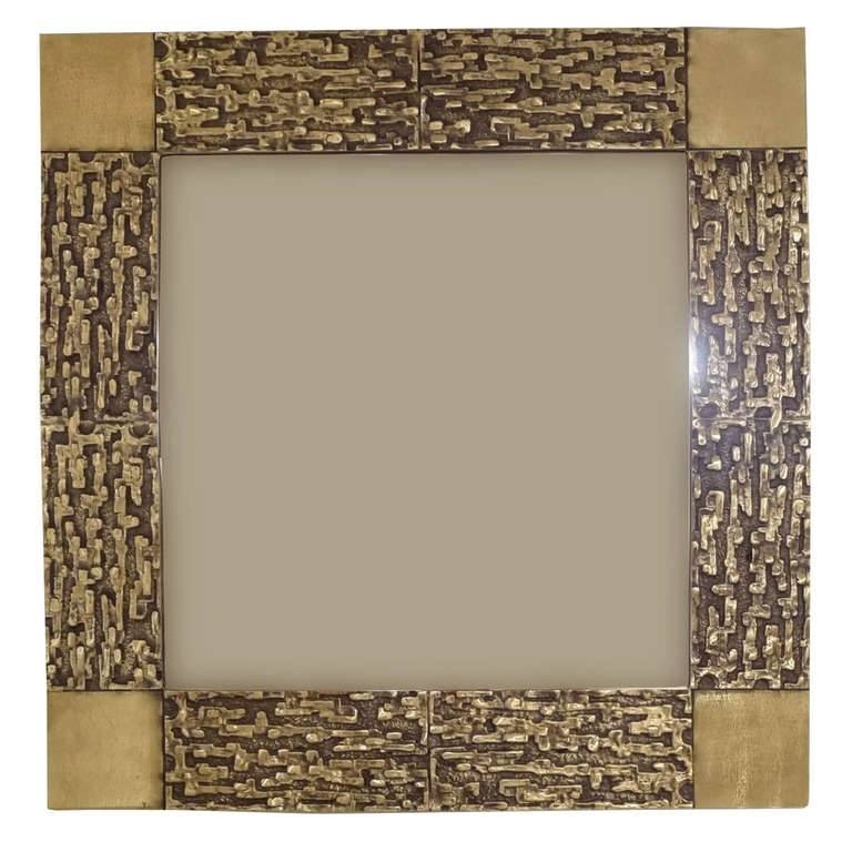 "A Square Wall Mirror In Cast Bronze, Model ""juanita""luciano Within Bronze Wall Mirrors (#2 of 20)"