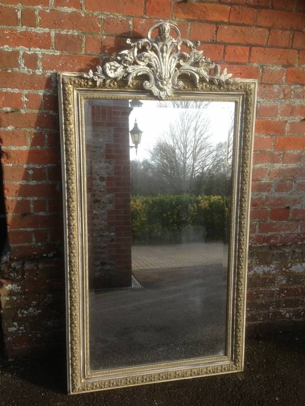 A Stunning Highly Decorative Large Antique French Mirror – Antique With Regard To French Floor Standing Mirrors (#9 of 20)